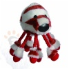 Plush octopus with tennisball, with giggle sound